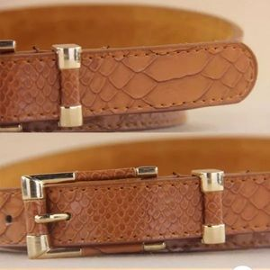 NWT VEGAN CROCODILE SKIN LEATHER BELT GOLD BROWN S